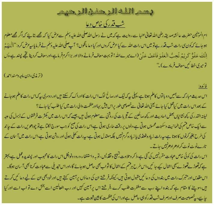 Lailatul Qadr ki Special dua in urdu