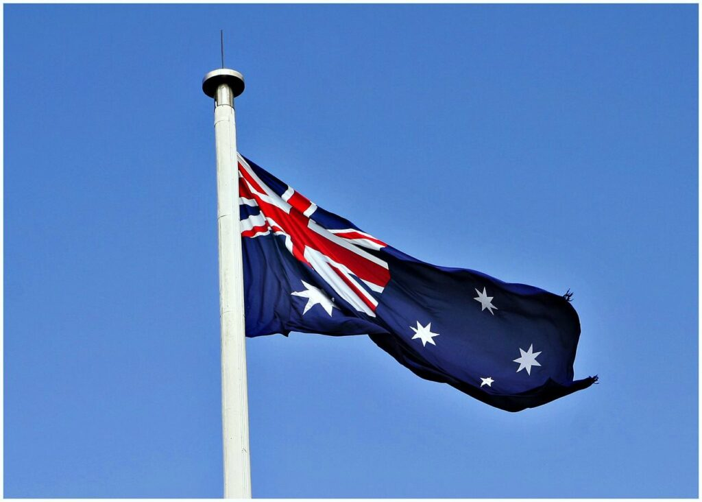 Flying Australian flag Free images