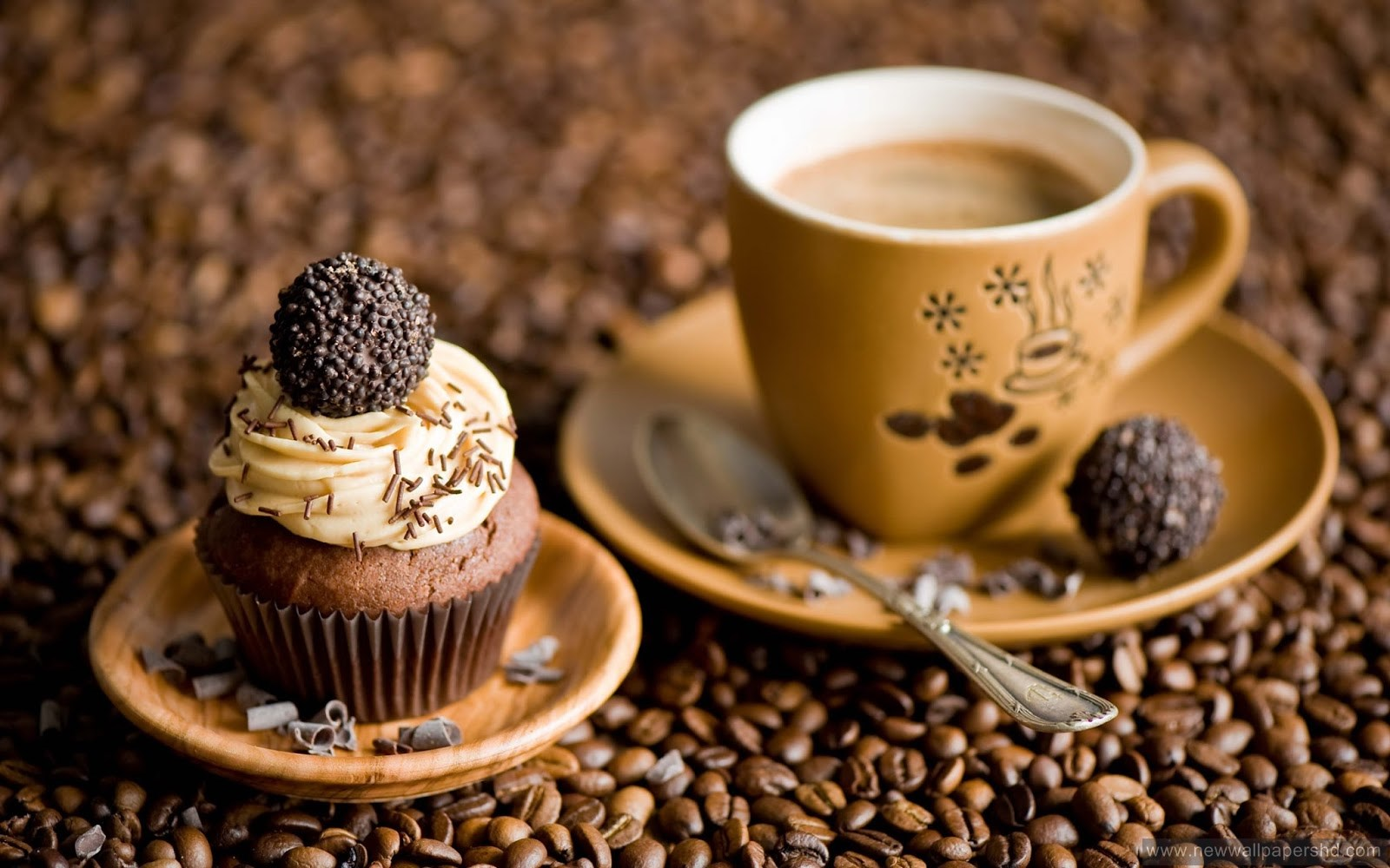 stylish coffee beans cake candy nice morning