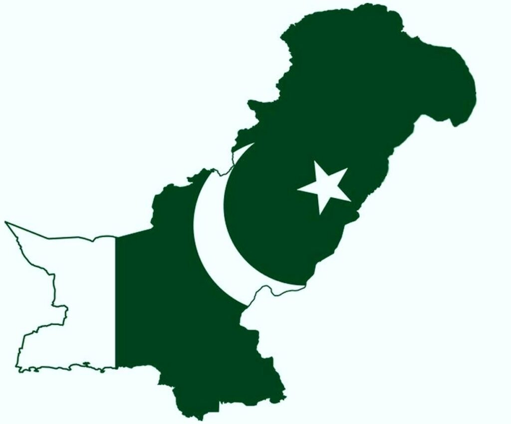 Map of Pakistan emosed in Pakistan flag Photos