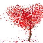 Little red Heart making a big tree wih white background